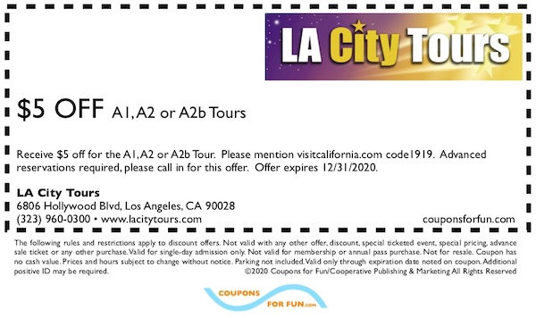 Savings coupon for LA City Tours in Los Angeles, California - tours, sightseeing, Hollywood, movies
