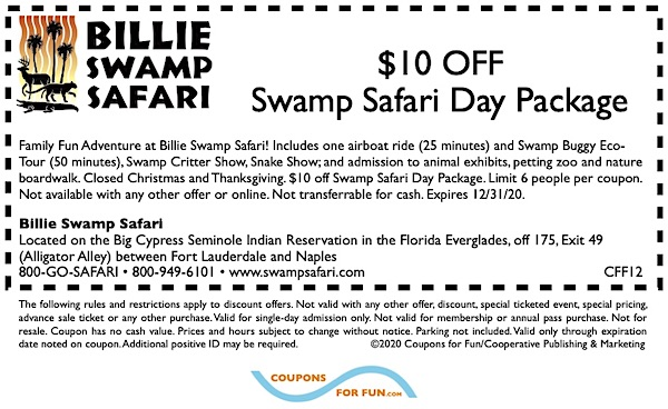Savings coupon for Billie Swamp Safari Day Tour at Big Cypress Indian Reservation in Fort Lauderdale, Florida