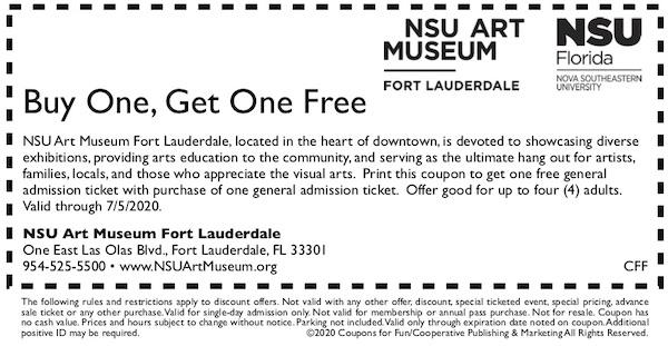 Savings coupon for the NSU Art Museum Fort Lauderdale, Florida