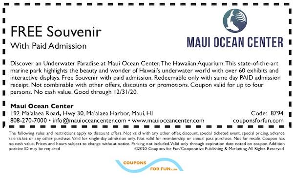 Savings coupon for the Maui Ocean Center in Ma'alaea Harbor, Maui, Hawaii