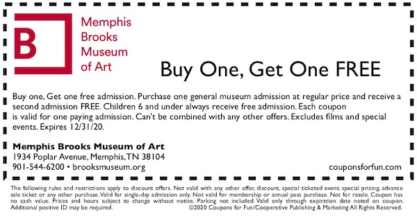 Savings coupon for the Memphis Brooks Museum in Memphis, Tennessee