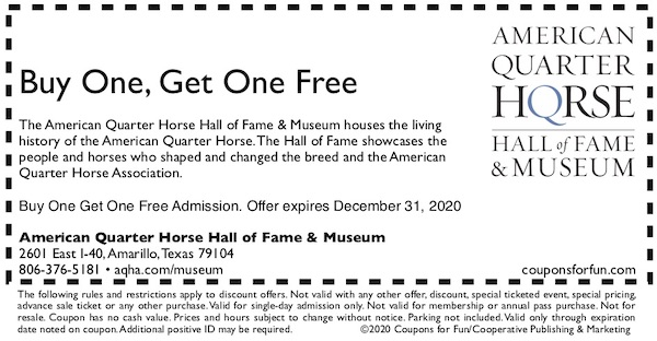 Savings coupon for the American Quarter Horse Museum in Amarillo, Texas