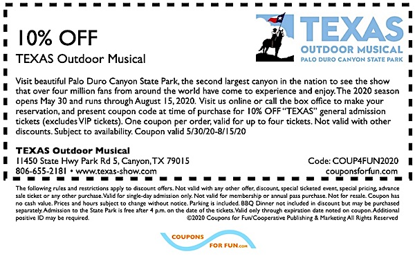 Savings coupon for the Texas Outdoor Musical in Canyon, Texas