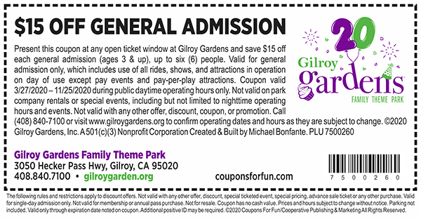 Savings coupon for Gilroy Gardens Family Theme Park In Gilroy, California
