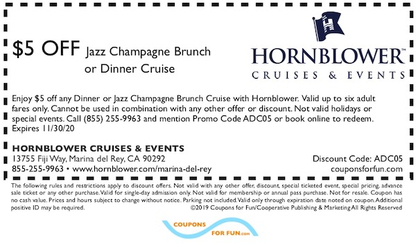 Savings coupon for Hornblower in Los Angeles (Long Beach, Marina del Rey)