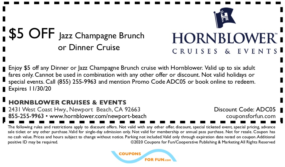 Savings coupon for Hornblower Cruises in Newport Beach, California