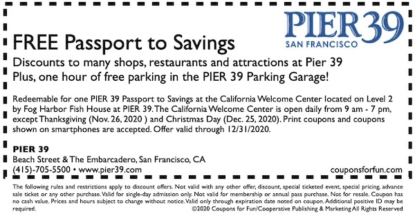 Coupon for FREE Pier 39 Passport to Savings with discounts at Pier 39 in San Francisco, California