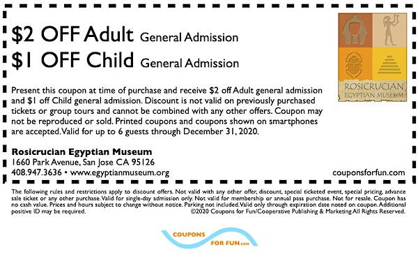 Savings coupon for the Rosicrucian Egyptian Museum in San Jose, California