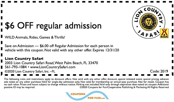 Savings coupon for Lion Country Safari in West Palm Beach, Florida.