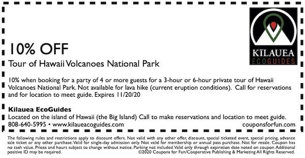 Savings coupon for Kilauea EcoGuides on island of Hawaii, the Big Island