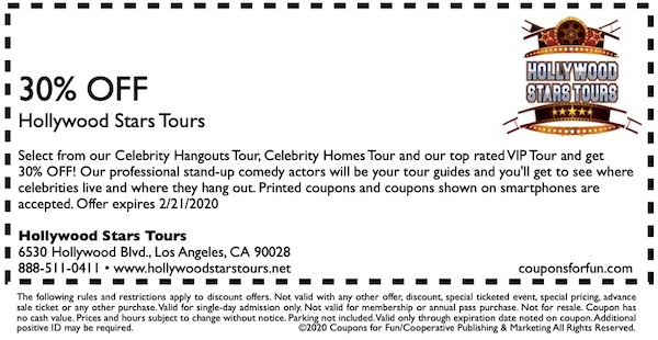 Savings coupon for Hollywood Stars Tours in Hollywood, California