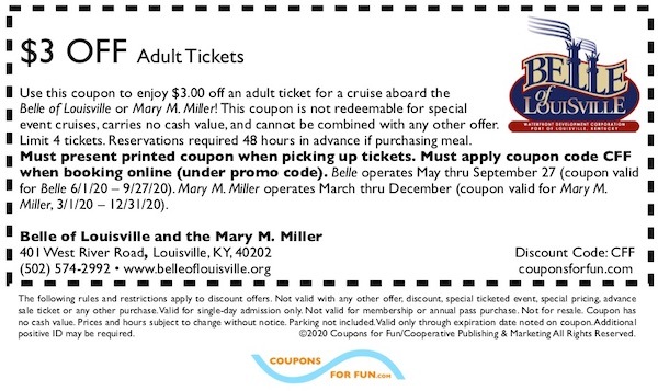 Savings coupon for the Belle of Louisville and the Mary M. Miller in Louisville, Kentucky, riverboat, cruise, sightseeing, boat, travel, things to do, family, fun