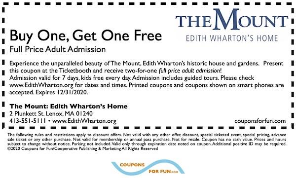 Savings coupon for The Mount, Edith Wharton's Home: Lenox, Massachusetts, historic home, cultural, Edith Wharton, cultural, gardens,