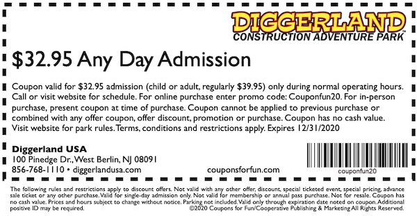 Savings coupon for Diggerland USA in West Berlin, New Jersey