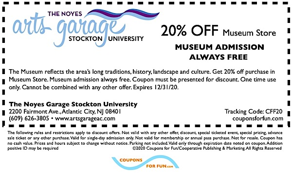 Savings coupon for The Noyes Arts Garage in Atlantic City, New Jersey