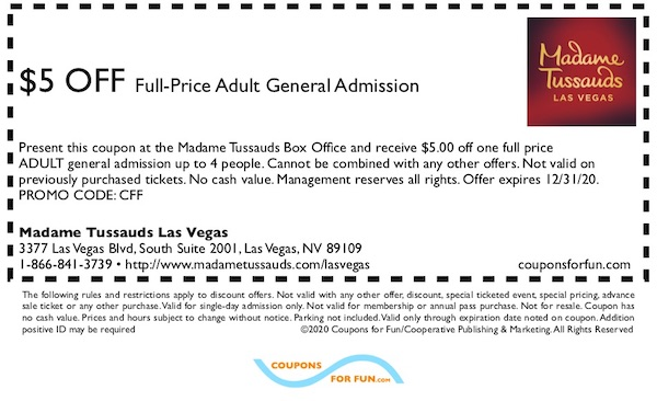 Savings coupon for Madame Tussauds in Las Vegas, Nevada
