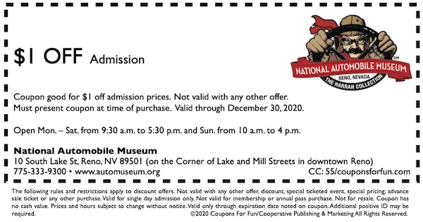 Savings coupon for the National Auto Museum in Reno, Nevada