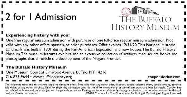 Savings coupon for Buffalo History Museum in Buffalo, New York