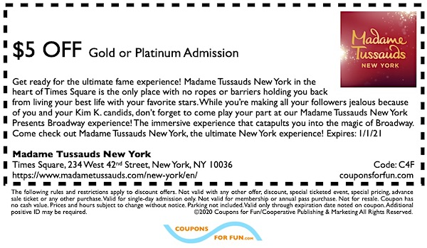 Savings coupon for Madame Tussauds in New York