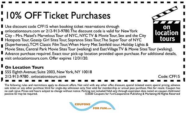 Savings coupon for On Location Tours in New York City