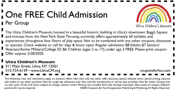 Savings coupon for the Utica Children's Museum in Utica, New York