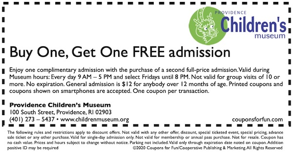 Savings coupon for Providence Children's Museum in Providence, Rhode Island
