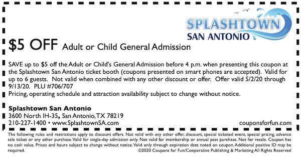 Savings coupon for Splashtown San Antonio, Texas