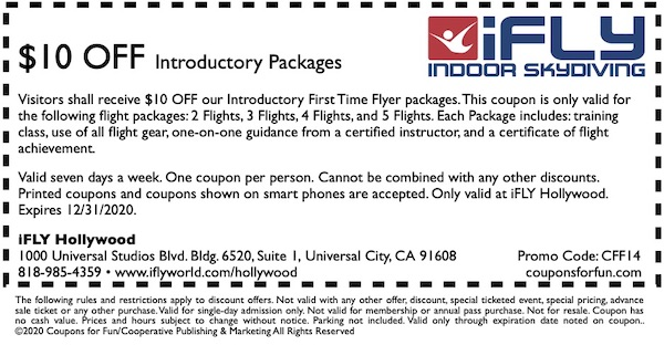 Savings coupon for IFLY Hollywood at Universal City, CityWalk, Hollywood, California, Los Angeles, indoor skydiving, skydiving, sports, travel, things to do, family