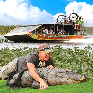 Get savings coupon for Everglades Holiday Park in Fort Lauderdale, Florida - gator, alligator, boat, airboat, family fun