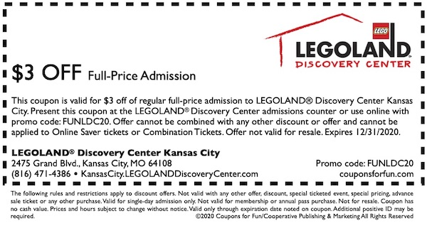 Savings coupon for Legoland in Kansas City, Missouri