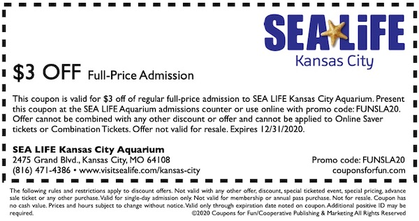 Savings coupon for SEA LIFE Aquarium in Kansas City, Missouri