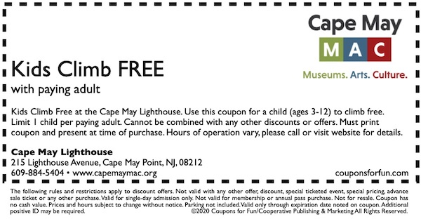 Savings coupon for the Cape May Lighthouse in Cape May Point, New Jersey