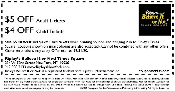 Savings coupon for Ripley's Believe It or Not! Museum in Manhatten, New York
