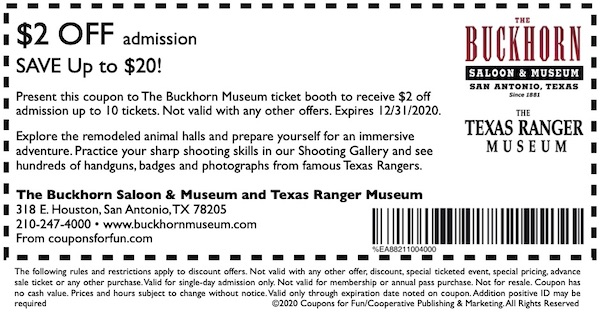 Savings coupon for Buckhorn Saloon Museum in San Antonio, Texas