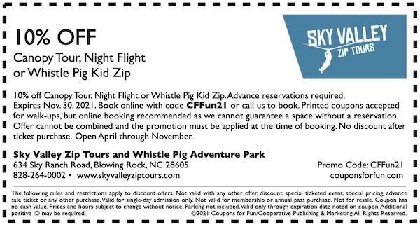 Savings coupon for Sky Valley Zip Tours and Whistle Pig Adventure Park in Blowing Rock, North Carolina