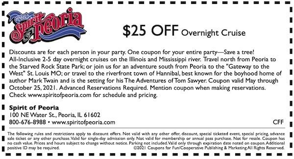 Savings coupon for Spirit of Peoria Overnight Cruise in Peoria, Illinois