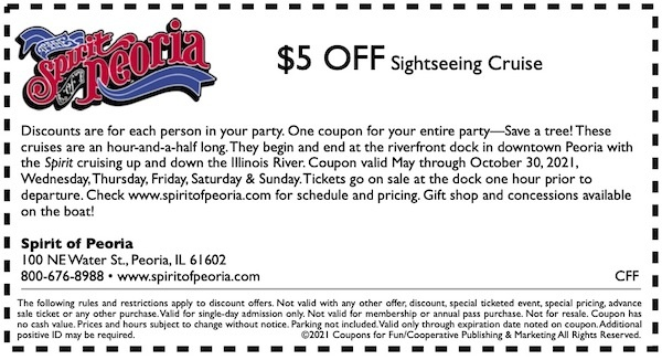 Savings coupon for the Spirit of Peoria sightseeing cruises in Peoria, Illinois