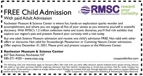 Savings coupon for Rochester Museum & Science Center in Rochester, New York - science museum