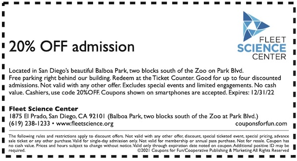 Savings coupon for the Fleet Science Center at Balboa Park in San Diego, California