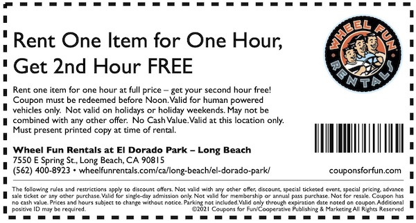 Savings coupon for Wheel Fun Rentals in Long Beach, Los Angeles, California, bike rental, sightseeing, tour, travel, things to do in Long Beach, family