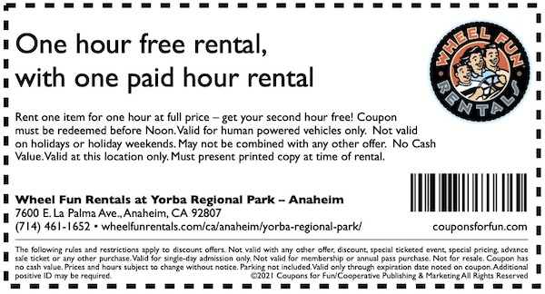 Savings coupon for Wheel Fun Rentals in Anaheim, California - things to do in Orange County, CA