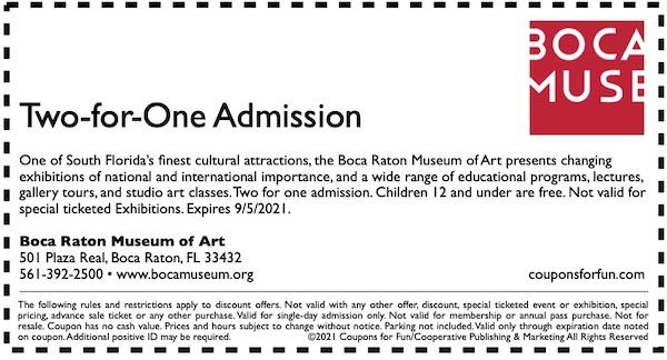 Savings coupon for Boca Museum of Art in Boca Raton, Florida - art, cultural things to do in Florida