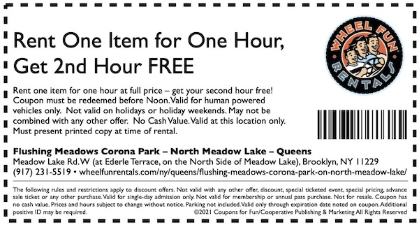 Savings coupon for Wheel Fun Rentals in North Meadow Lake, Queens, New York