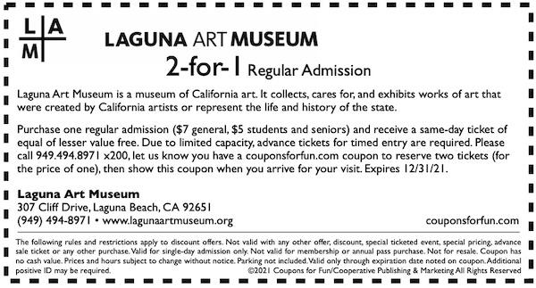 Savings coupon for Laguna Art Museum in Laguna Beach, California