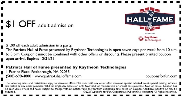 Savings coupon for Patriots Hall of Fame in Foxborough, Massachusetts