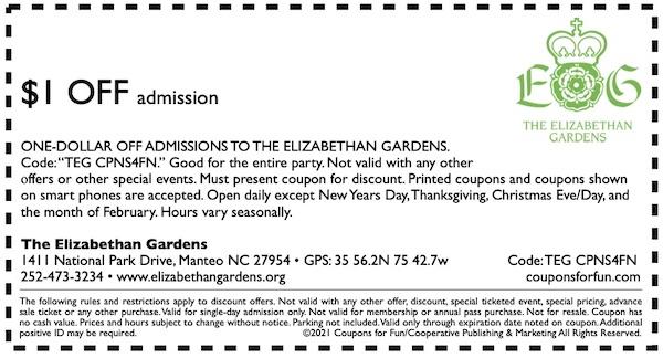 Savings coupon for the Elizabethan Gardens in Manteo, North Carolina