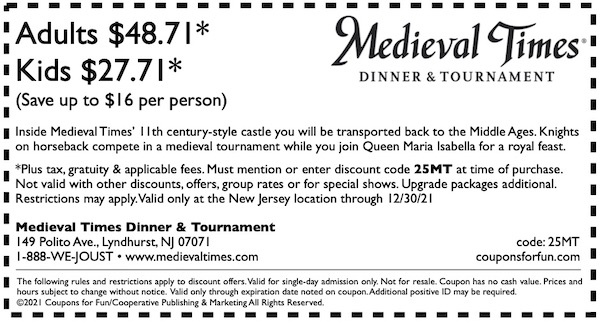 Savings coupon for Medieval Times in Lyndhurst, New Jersey