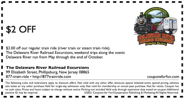 Savings coupon for the Delaware River Railroad Excursions in Phillipsburg, New Jersey